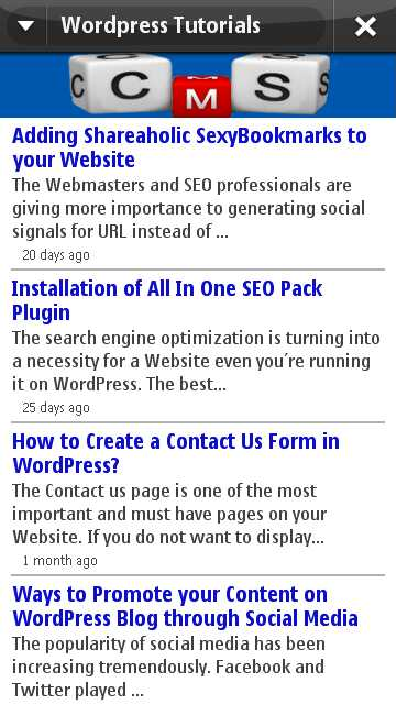 Blog WordPress Tutorial Nokia Ovi App
