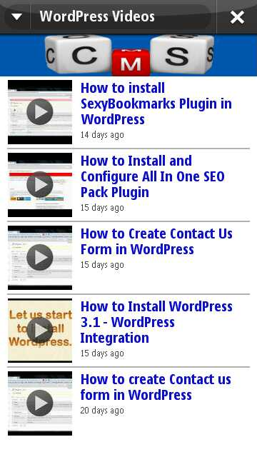 WordPress Video Channel in Blog WordPress Tutorials App