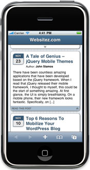 Screenshot of Website with WordPress Mobile Detector