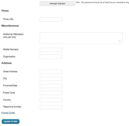 User Profile after adding Extended Profile Plugin