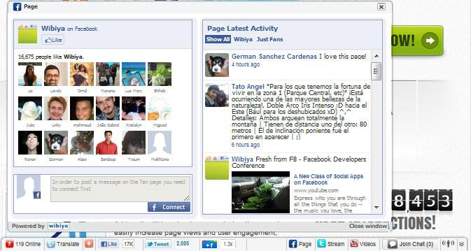 Wibiya Toolbar along with Facebook Fan Page Activity Window
