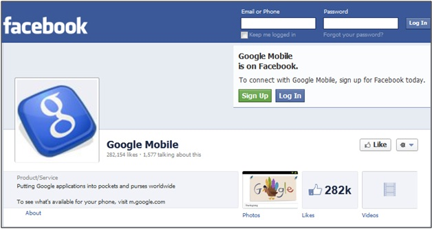 Google Mobile Facebook