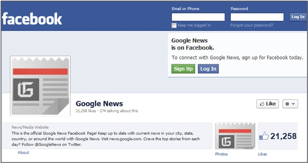 Google News Facebook