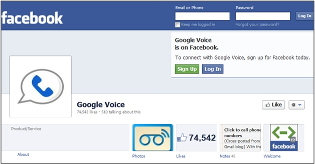 Google Voice Facebook