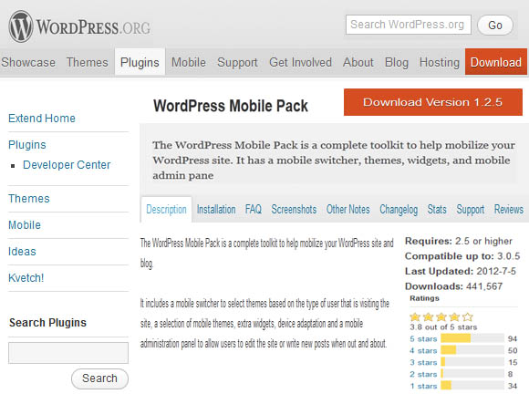 Wordpress Mobile Pack WordPress Plugin