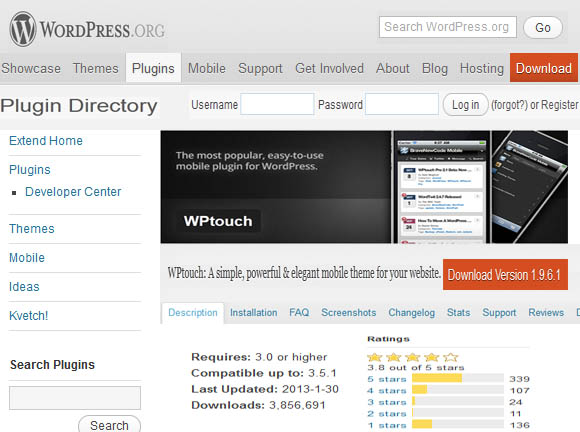 Wptouch WordPress Mobile Plugins