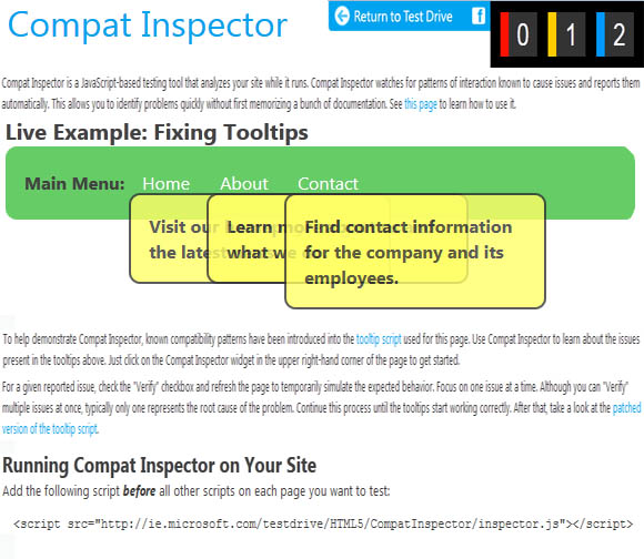 IE10 Compact Inspector