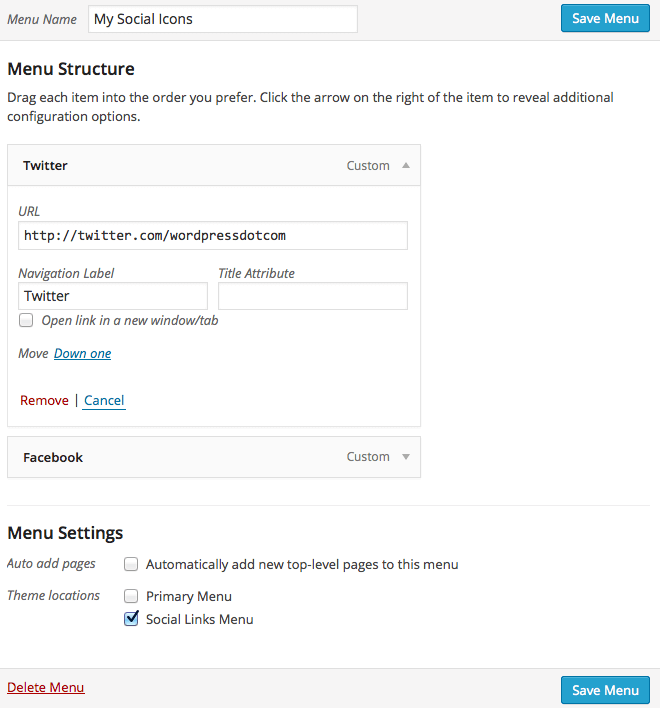 how to add social icons in wordpress menu