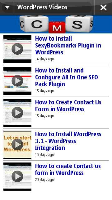 WordPress Video Channel in Blog WordPress Tutorials App