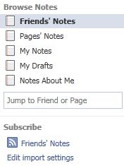 Notes App in Facebook Fan Page