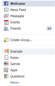 Facebook Fan Page Link in Left Sidebar
