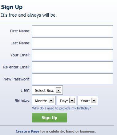 Facebook Sign up Form