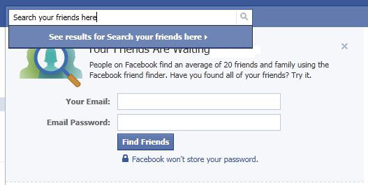 Search for your friends in Facebook