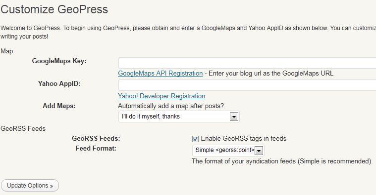 GeoPress Options in WordPress