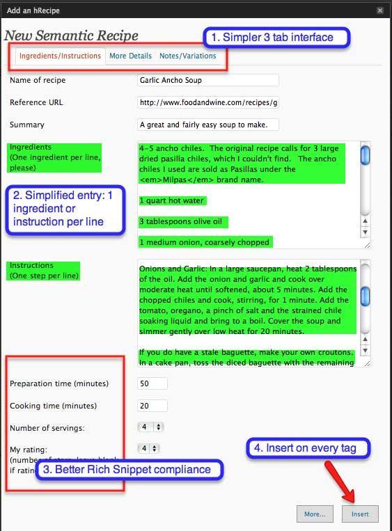 Preview of Adding a Recipe through hRecipe