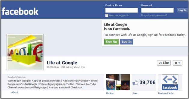 Life at Google Facebook