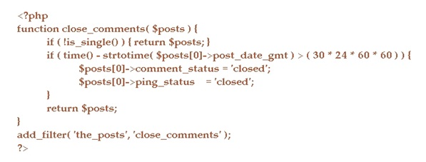 The PHP code for Disabling Comments on Old Posts