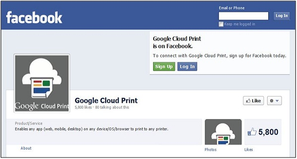 Google Cloud Print Facebook