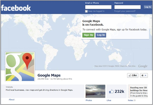 Google Maps Facebook