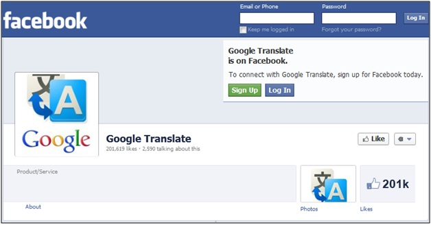 Google Translate Facebook