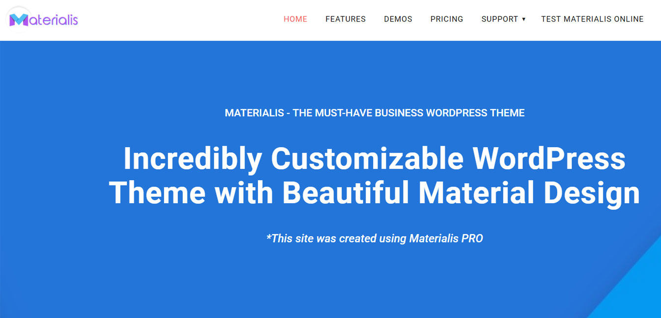 Materialis - Free WordPress Customizable Theme