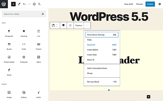 WordPress 5.5 - UI Improvements
