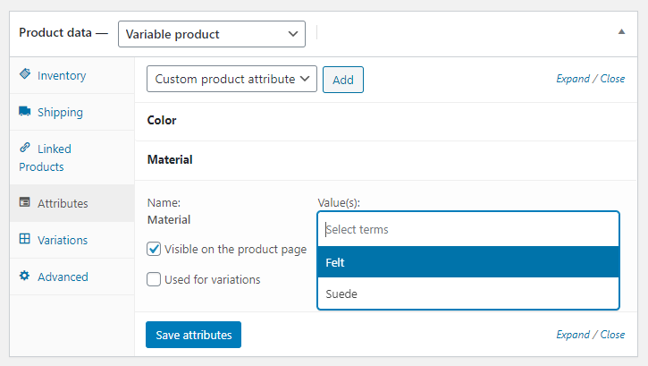Custom Product Attribute Value